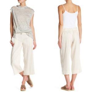 Vince Linen Blend Belted Culottes Crop Pants 912
